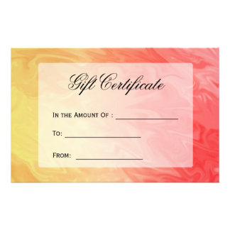 Gift Certificate Yellow Red Texture Full Color Flyer