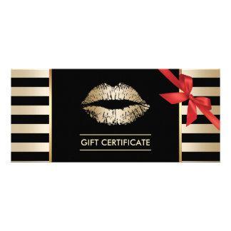 Gift Certificates | Gold Lips Modern Stripes Salon Rack Card Template