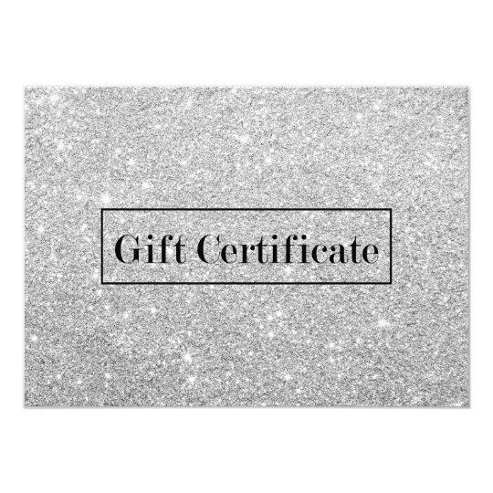 Gift Certificates Modern Silver Glitter Salon Spa Card