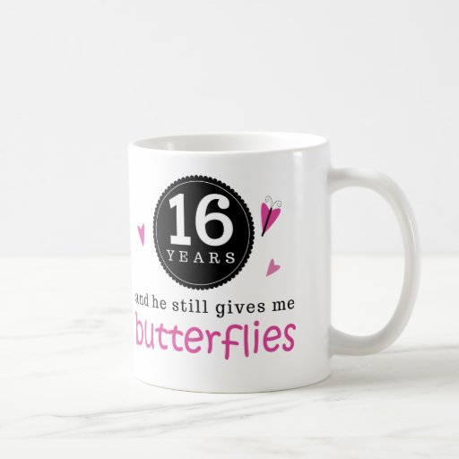 Wedding Gift 16 Years : Gift For 16th Wedding Anniversary Butterfly Classic White Coffee Mug
