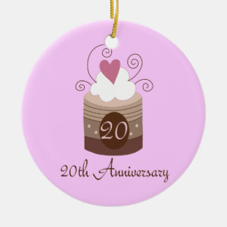 Gift For 20th Wedding Cute Cupcake Christmas Ornament