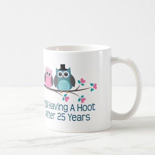 Gift For 25th Wedding Anniversary Hoot Coffee Mugs