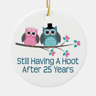 Gift For 25th Wedding Anniversary Hoot Round Ceramic Decoration