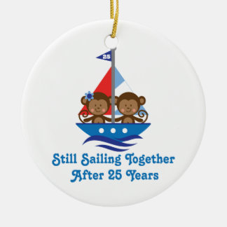 Gift For 25th Wedding Anniversary Monkeys Christmas Ornament