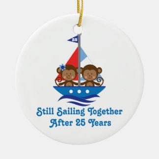 Gift For 25th Wedding Anniversary Monkeys Round Ceramic Decoration