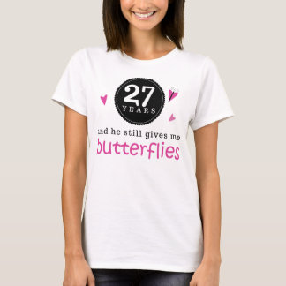 Gift For 27th Wedding Anniversary Butterfly T-Shirt
