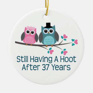 Gift For 37th Wedding Anniversary Hoot Double-Sided Ceramic Round Christmas Ornament