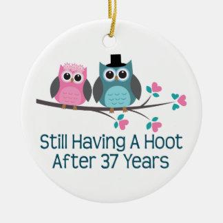 Gift For 37th Wedding Anniversary Hoot Round Ceramic Decoration