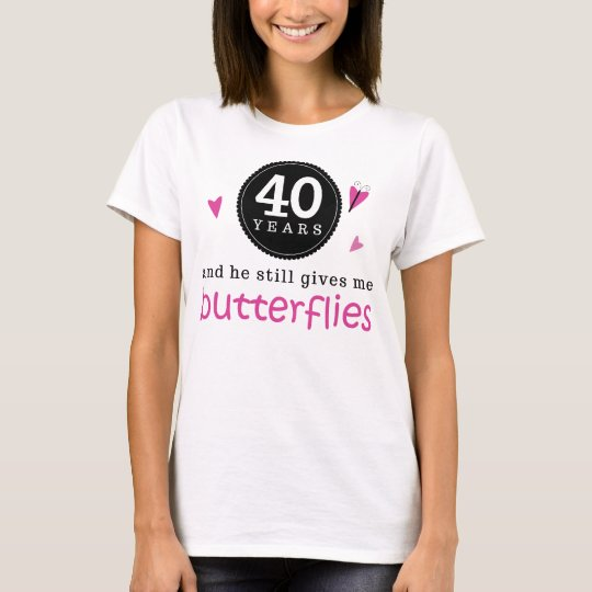 Gift For 40th Wedding Anniversary Butterfly T-Shirt