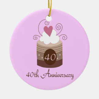 Gift For 40th Wedding Cute Cupcake Christmas Ornament