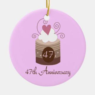 Gift For 47th Wedding Cute Cupcake Christmas Ornament