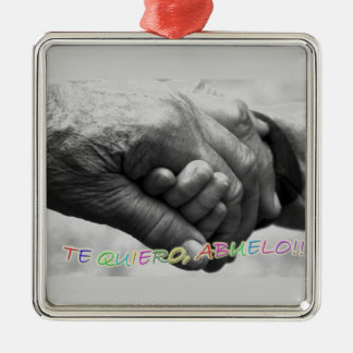 """Gift for grandfathers, """"I love grandfathers to You Silver-Colored Square Decoration"""