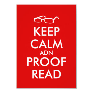 Gift for Writers Keep Calm and Proofread 13 Cm X 18 Cm Invitation Card