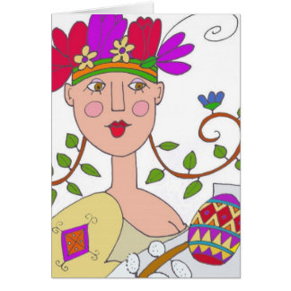 Gift From a Spring Maiden Ukrainian Folk Art Card