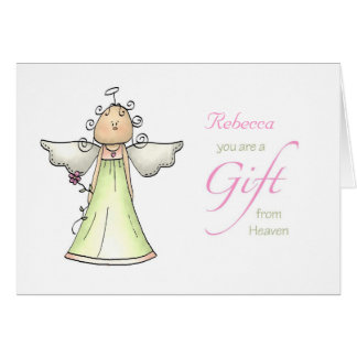 Gift from Heaven, Adoption Anniversary Custom Name Card