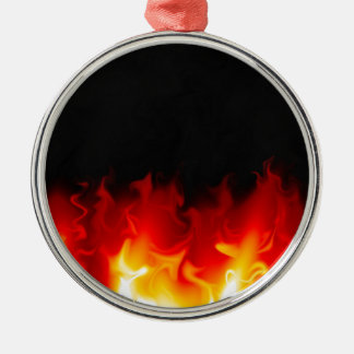Gift from Hell in fire Silver-Colored Round Decoration