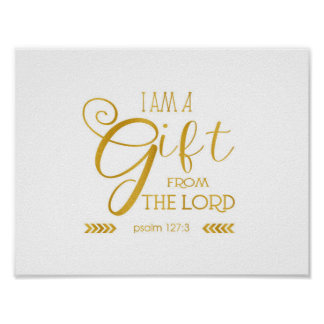 Gift from the Lord, Gold Font Poster