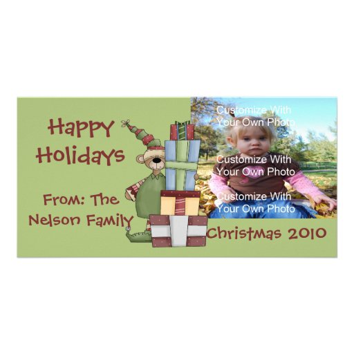 Gift Giving Bear Photo Card