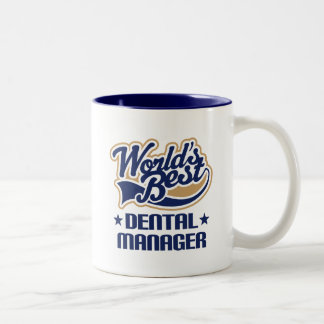 Gift Idea For Dental Manager (Worlds Best) Two-Tone Coffee Mug