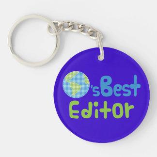 Gift Idea For Editor (Worlds Best) Single-Sided Round Acrylic Key Ring