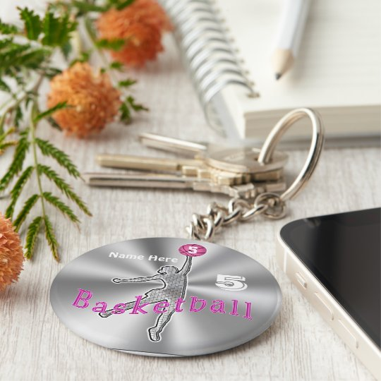 Gift ideas for Basketball Players NAME and NUMBER Basic Round Button Key Ring