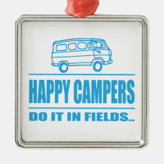 Gift Items For The Happy Inspired Camper Silver-Colored Square Decoration