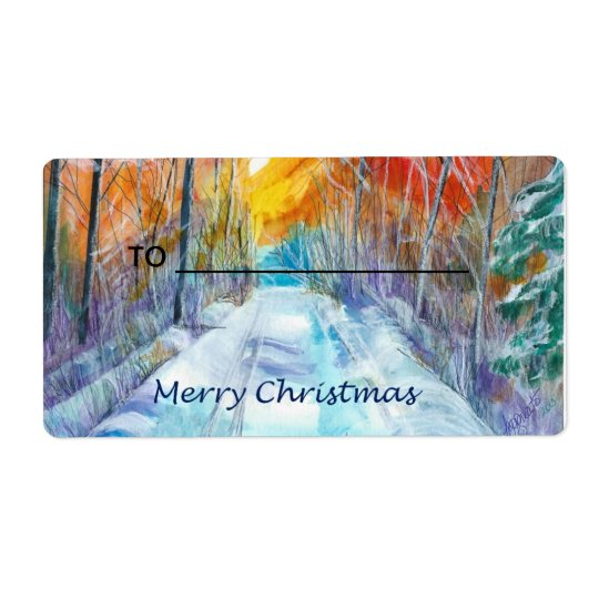 Gift Label Snowy Road Shipping Label