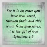 Gift of God bible verse Ephesians 2:8 Poster