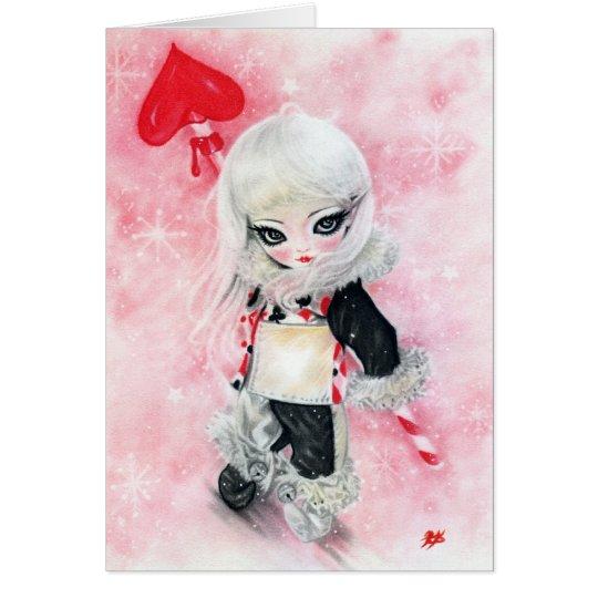 Gift of Love Big eye art Gir christmas Card