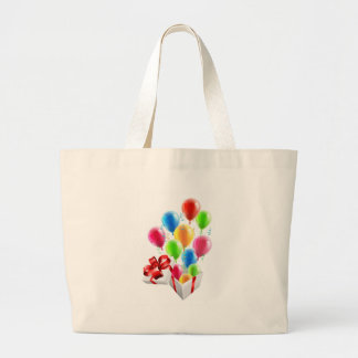 Gift Party Ballons and Streamers Concept Large Tote Bag