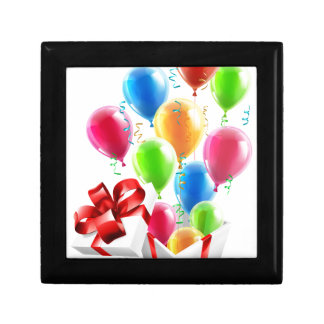 Gift Party Ballons and Streamers Concept Small Square Gift Box