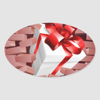 Gift Present Breaking Through Wall Oval Sticker