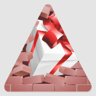 Gift Present Breaking Through Wall Triangle Sticker
