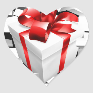 Gift Present Smashing Through Wall Heart Sticker