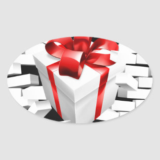 Gift Present Smashing Through Wall Oval Sticker