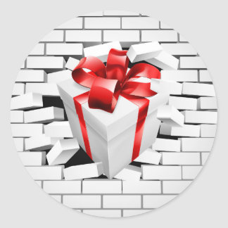 Gift Present Smashing Through Wall Round Sticker