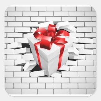 Gift Present Smashing Through Wall Square Sticker