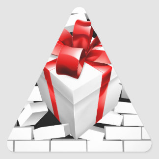 Gift Present Smashing Through Wall Triangle Sticker