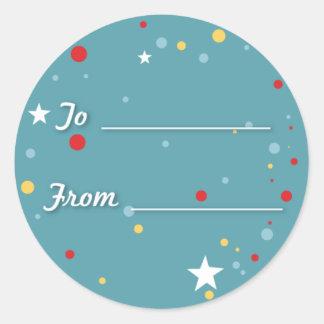 Gift Tag - Blue Round Sticker