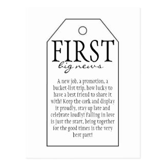 Gift Tag for Wine Bottle - First Big News Postcard