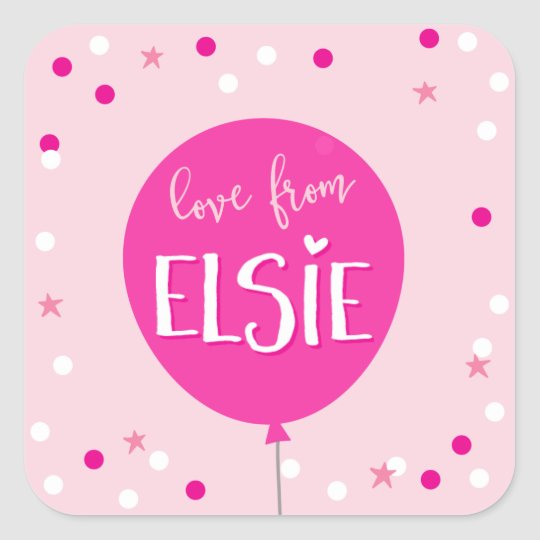 GIFT TAG LABEL cute pink balloon confetti