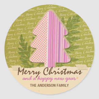 Gift Tag - Papercraft Merry Christmas Round Sticker