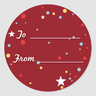 Gift Tag - Red Round Sticker