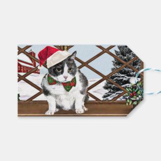 Gift tag with Felix, the kitty, ready for Xmas