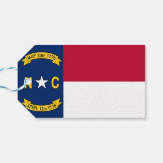 Gift Tag with Flag of North Carolina State, USA