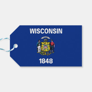 Gift Tag with Flag of Wisconsin State, USA