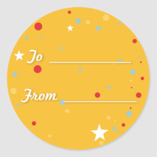Gift Tag - Yellow Classic Round Sticker