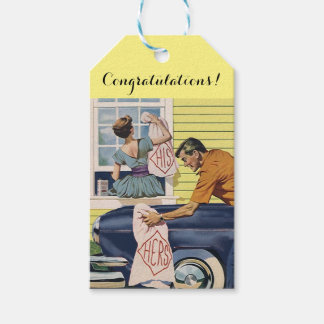 Gift Tags His & Hers retro style Wedding Newlyweds
