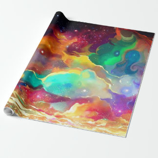 Gift Wrap Colourful Liquid Outer Space Galaxy