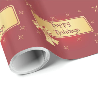 Gift Wrap - Gold On Burgundy - Happy Holidays Wrapping Paper